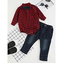 billige Tøjsæt til drenge-Baby Drenge Rosette / Ternet / Pænt tøj Fest / Daglig / Formel Ternet Langærmet Normal Normal Bomuld Tøjsæt Rød