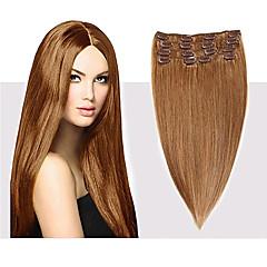 baratos Extensões de Cabelo Natural-Com Presilha Extensões de cabelo humano Clássico Cabelo Humano Mulheres Diário