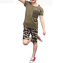 baratos Roupas de Meninos-Infantil Unisexo Azul e Branco Estampado Manga Curta Conjunto
