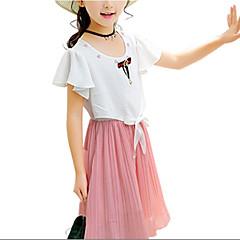 baratos Roupas de Meninas-Infantil Para Meninas Estampa Colorida Manga Curta Vestido