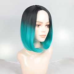 cheap Wigs & Hair Pieces-Synthetic Wig / Ombre / Highlighted Hair Women's Straight Ombre Bob Synthetic Hair Fashionable Design / Soft / Sexy Lady Ombre Wig Short Capless Black / Grey Black / Sapphire Blue Black / Dark Green