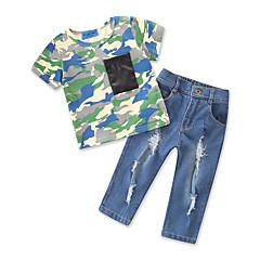 billige Tøjsæt til drenge-Baby Drenge Ensfarvet / Trykt mønster Kortærmet Tøjsæt
