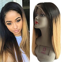cheap Wigs & Hair Pieces-Remy Human Hair Lace Front Wig Brazilian Hair Straight Wig 130% With Baby Hair / Natural Hairline / Unprocessed Light Brown Women's Short / Long / Mid Length Human Hair Lace Wig