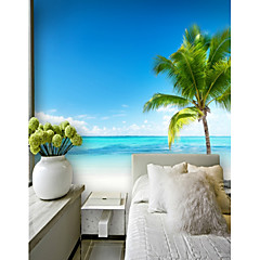 cheap -Custom Seaside Coconut Tree 3D Large Wall Covering Mural Wallpaper Suitable for Office Bedroom Restaurant Sea View