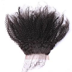billiga Peruker och hårförlängning-SunnyQueen Dam Lockigt 5x5 Stängning Mongoliskt hår Fransk spets Remy-hår Äkta hår Fria delen Med Babyhår