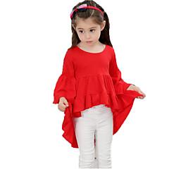 billige Pigetoppe-Baby Pige Aktiv Ensfarvet Drapering Halvlange ærmer Bomuld T-shirt / Sødt