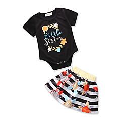 billige Sett med babyklær-Baby Pige Aktiv / Basale Ferie Trykt mønster Drapering Kortærmet Tøjsæt
