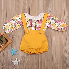 billige Sett med babyklær-Baby Pige Boheme / Gade Ferie / I-byen-tøj Ensfarvet / Blomstret Blonder / Trykt mønster 3/4-ærmer Normal Normal Polyester / Nylon Tøjsæt Gul