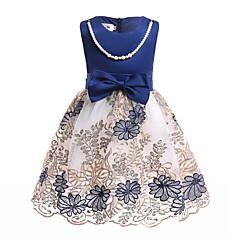 baratos Roupas de Meninas-Infantil Bébé Para Meninas Azul e Branco Estampado Sem Manga Vestido