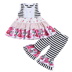 voordelige Babykledingsets-Baby Meisjes Gestreept Mouwloos Kledingset