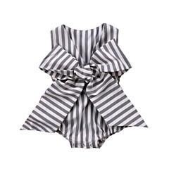 billige Babytøj-Baby Pige Sofistikerede Ferie Sort og Grå Stribet Sløjfer Uden ærmer Bodysuit