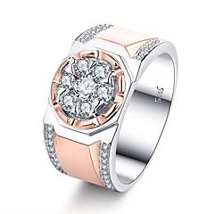 billige Motering-Herre Kubisk Zirkonium Cluster Band Ring Forlovelsesring - Rose gull Vintage, Elegant 7 / 8 / 9 / 10 / 11 Rose Gull Til Bryllup Engasjement Seremoni
