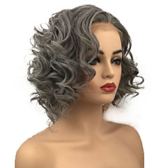 cheap -Synthetic Lace Front Wig Women's Curly Gray Bob Synthetic Hair For Black Women Gray Wig Mid Length Lace Front Grey StrongBeauty