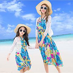 billige Sett med familieklær-Voksen Mamma og meg Grunnleggende Strand Blomstret Halvlange ermer Polyester Bluse Hvit Jenter 120