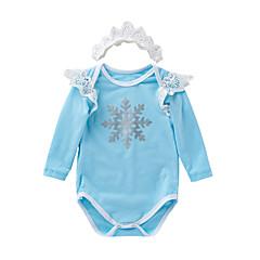 billige Babytøj-Baby Pige Farveblok Langærmet Bodysuit