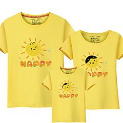 billige Sett med familieklær-Barn Familie Look Aktiv / Grunnleggende Daglig / Helg Ensfarget / Bokstaver Trykt mønster Kortermet Normal Normal Bomull / Rayon / Polyester T-skjorte Lyseblå
