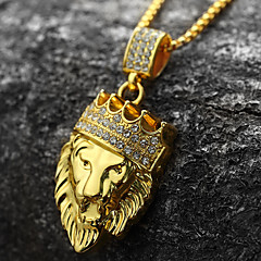 cheap Men's Jewelry-Men's Cubic Zirconia Engraved Pendant Necklace - 18K Gold Plated, Imitation Diamond Lion, King, Crown Personalized, Rock, Hip-Hop Gold Necklace Jewelry 1pc For Party, Gift, Daily, Casual