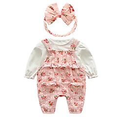 billige Sett med babyklær-Baby Pige Basale Blomstret Langærmet Tøjsæt