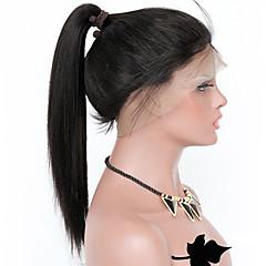 billiga Peruker och hårförlängning-Remy-hår Spetsfront Peruk Lockigt / Yaki Rakt 150% / 180% Densitet Naturlig hårlinje / Afro-amerikansk peruk / 100 % handbundet Dam Mellan / Lång Äkta peruker med hätta