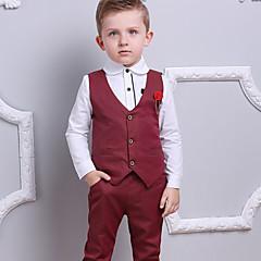 billige Tøjsæt til drenge-Børn Drenge Aktiv / Basale Fest / Ferie Ensfarvet / Prikker / Farveblok Patchwork / Trykt mønster Langærmet Bomuld Tøjsæt