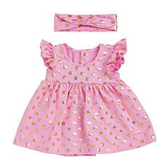 billige Babykjoler-Baby Pige Basale / Gade Daglig / Skole Farveblok Flettet Uden ærmer Normal Normal Over knæet Bomuld Kjole Hvid