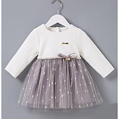 billige Babykjoler-Baby Pige Basale Farveblok Langærmet Bomuld Kjole Hvid
