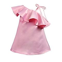baratos Roupas de Meninas-Bébé Para Meninas Sólido Sem Manga Vestido