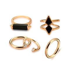 billige Motering-Dame Edelsten Svart Tau Ring Ring Set - Legering Gotisk Lolita, Rock, Gotisk Gull Til Trening Valentine / 5pcs