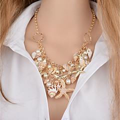 お買い得  ファッションネックレス-女性用 レイヤード ペンダントネックレス  -  人造真珠 ヒトデ, シェル クラシック ゴールド 46+5 cm ネックレス 1個 用途 ビキニ