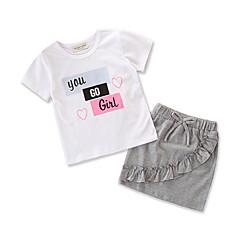 billige Sett med babyklær-Baby Pige Afslappet / Basale Daglig / Ferie Trykt mønster Kortærmet Normal Spandex Tøjsæt Lysegrå 100