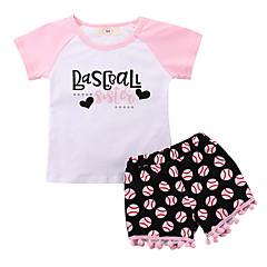 billige Tøjsæt til piger-Baby Pige Basale Trykt mønster Trykt mønster Kortærmet Bomuld Tøjsæt