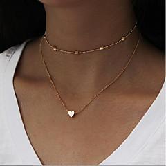 ieftine Lănțișoare-Pentru femei În Straturi / Chainul gros Coliere Choker / Lănțișoare - Inimă, Iubire Simplu, Vintage, Multistratificat Auriu, Argintiu 35 cm Coliere 1 buc Pentru Zilnic, Birou și carieră