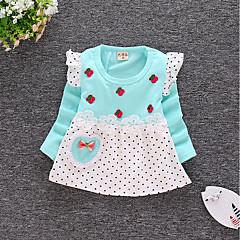 billige Babytøj-Baby Pige Aktiv I-byen-tøj Prikker / Trykt mønster Langærmet Bomuld Kjole