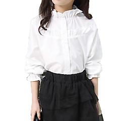 billige Pigetoppe-Børn Pige Basale / Gade Ensfarvet Drapering Langærmet Bomuld Skjorte