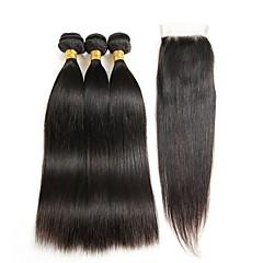 ieftine Un pachet de păr-Păr Brazilian Drept Un ambalaj Solution 3 pachete cu închidere Umane Țesăturile de par Extention / cald Vânzare Negru Umane extensii de par Pentru femei
