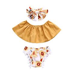 billige Sett med babyklær-Baby Pige Aktiv Sport Blomstret Uden ærmer Tøjsæt