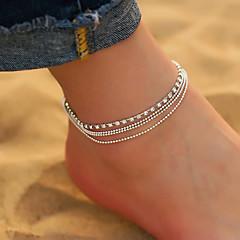baratos Bijoux de Corps-Zircônia Cubica Camadas tornozeleira - Caído Simples, Coreano, Fashion Prata Para Diário / Para Noite / Mulheres