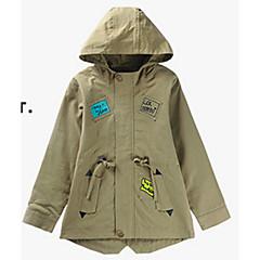 billige Jakker og frakker til drenge-Børn Drenge Basale Geometrisk Langærmet Bomuld Trenchcoat