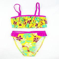 billige Badetøj til piger-Baby Pige Strand Blomstret / Farveblok Trykt mønster Bomuld / Polyester Badetøj Gul 130