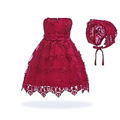 billige Babykjoler-Baby Pige Vintage I-byen-tøj / Fødselsdag Ensfarvet Uden ærmer Knælang Bomuld / Polyester Kjole Hvid