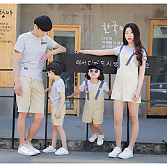 tanie Zestawy odzieży rodzinnej-Rodzinny wygląd Podstawowy Codzienny Prążki Krótki rękaw Poliester Komplet odzieży Czerwony