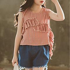 tanie Odzież dla dziewczynek-Dzieci Dla dziewczynek Podstawowy Pled Bez rękawów Bawełna Koszula