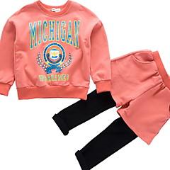 tanie Odzież dla dziewczynek-Dzieci Dla dziewczynek Podstawowy Nadruk Długi rękaw Bawełna Komplet odzieży