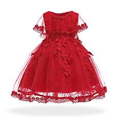 billige Babykjoler-Baby Pige Vintage I-byen-tøj / Fødselsdag Ensfarvet Langærmet Knælang / Asymmetrisk Bomuld / Polyester Kjole Lyserød