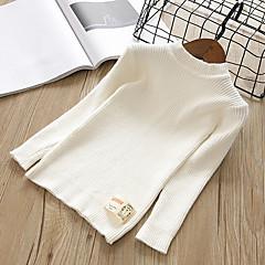 billige Sweaters og cardigans til piger-Børn Pige Ensfarvet Langærmet Trøje og cardigan