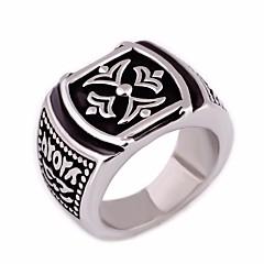 billige Motering-Herre Statement Ring - Titanium Stål Kreativ trendy, Rock, Hippie 7 / 8 / 9 Sølv Til Gate / Klubb