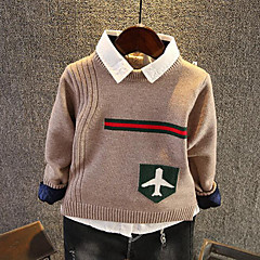billige Sweaters og cardigans til drenge-Børn Drenge Jacquard Vævning Langærmet Trøje og cardigan