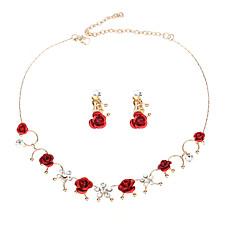 baratos Conjuntos de Bijuteria-Mulheres Diamante sintético Clássico Conjunto de jóias - Flor Romântico Incluir Brincos Curtos Gargantilhas Vermelho Para Noivado Festival
