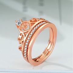 billige Motering-Dame Lag-på-lag / Elegant Ring Set - Gullplatert rose, Fuskediamant Krone Søt Lolita, trendy, Koreansk 5 / 6 / 7 Rose Gull Til Gave / Arbeid