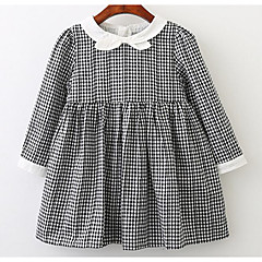 baratos Roupas de Meninas-Infantil Para Meninas Quadriculada Manga Longa Vestido